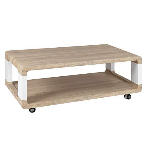 Mesa de Centro Fija con Ruedas, Acabado en Color Cambria y Blanco Lacado Piano, Medidas: 110 cm (Largo) x 60 cm (Ancho) x 44 cm (Alto)