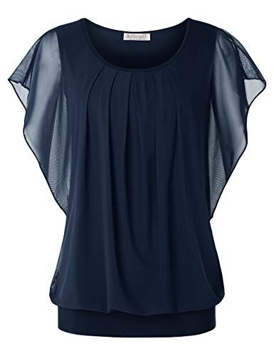 BAISHENGGT Women Tops and Blouses Short Sleeve Mesh Blouses XX-Large Navy Blue