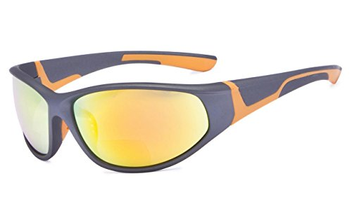 Eyekepper Bifokal Sonnenbrille mit TR90 und Gummirahmen - Sport Stil Sonnenscheinleser(Orange Spiegel, 2.50)
