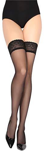 Merry Style Medias Autoadhesivas Finas Panty Lencería Mujer 15 DEN MSSS005 (Nero, M/L (40-44))