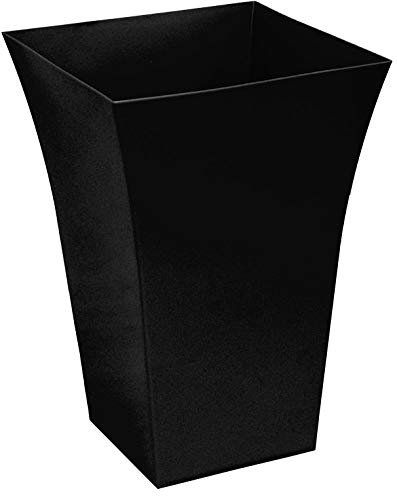Large Milano Tall Flared Black Planter Square Plastic Garden Flower Plant Pot Gloss Finish - for Indoor and Ourdoor (Pack of 1)