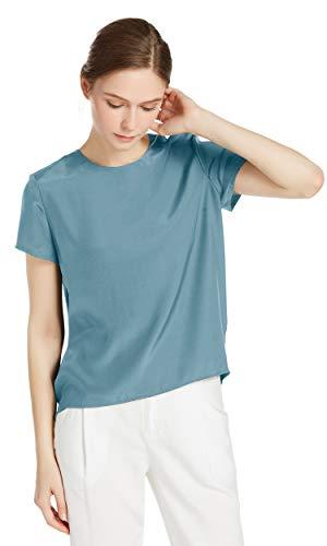 LilySilk Seide Damen Hemdbluse Kurzarm Bluse Hemd Tunika 22 Momme Verpackung MEHRWEG (L, Neblig Blau)