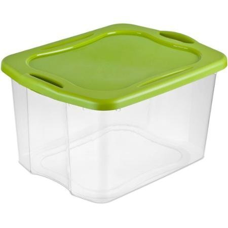 70-Quart See-Through Base Spicy Lime EZ Carry Storage Box Deep recessed lid for secure stacking with Comfortable Carry Thru Handles - Case of 6
