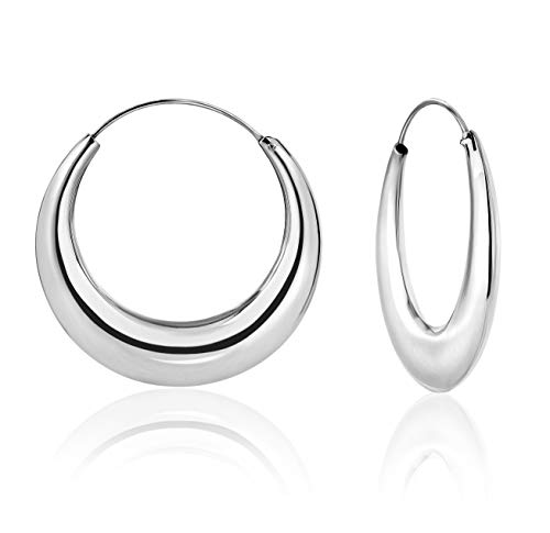 DTPsilver - Damen - Creolen Dick - Ohrringe 925 Sterling Silber - Dicke 5.5 mm - Durchmesser 40 mm