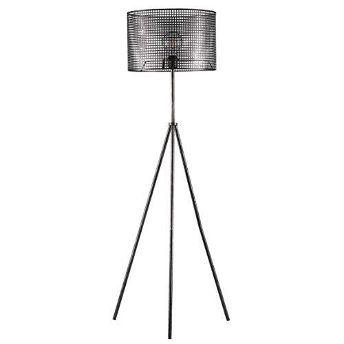 ONLI Lámpara de pie trípode de metal perforado, Negro