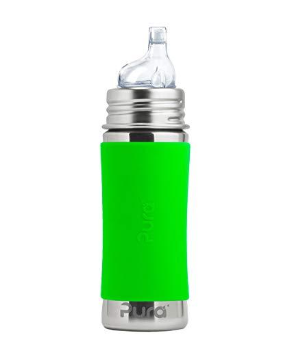 Pura kiki Trinklernflasche Edelstahl für Kleinkinder grün 325 ml