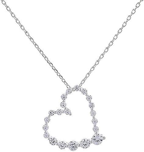 Yiffshunl Collar Collar de Moda de Plata Pura Collar de Mujer en Forma de corazón cultivado Collar de Diamantes Completo Cadena de clavícula Hueca de Amor