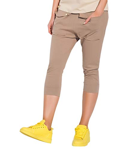 FUTURO FASHION® Mooie 3/4 Lengte Katoen Broek met Zakken Joggingbroek Baggy Shorts Capri Lengte Een Maat FA491