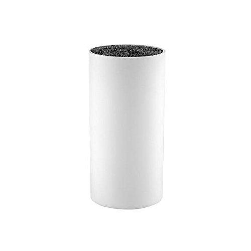 Universeel messenblok kunststof zonder messen borstelinzet ongevuld rond (Ø 9 cm/hoogte: 14 cm, wit)