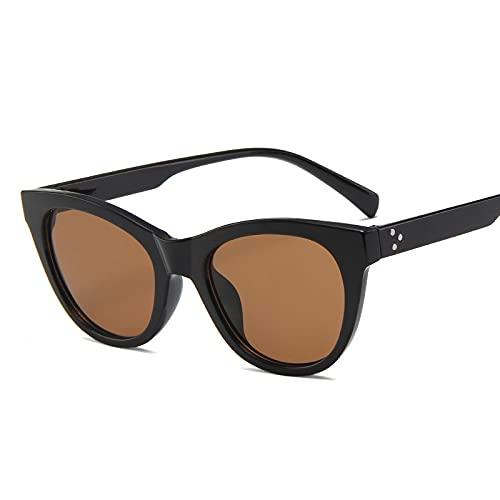 ShSnnwrl Gafas De Moda Gafas De Sol Clásico Vintage Cat Eye Gafas De Sol Mujer Gafas De Sol Mujer/Hombre Retro Gafas De Sol Pequeñas Blacktea
