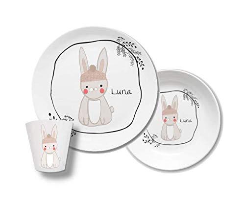 Kindergeschirr mir Namen Hase Luna Waldtiere, personalisiert, Gravur, Taufgeschenk