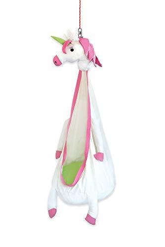 snuutje Hamaca nido para niños 'Elli el unicornio' (sin sustancias nocivas y certificado GS, 100% algodón, soporta hasta 80 kg, con accesorios) rosa