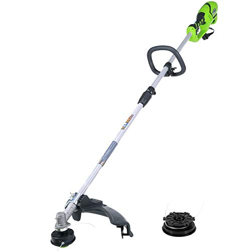 Greenworks 18-Inch 10 Amp Straight Shaft Electric String Trimmer/Edger with Extra Bulk Line 21142