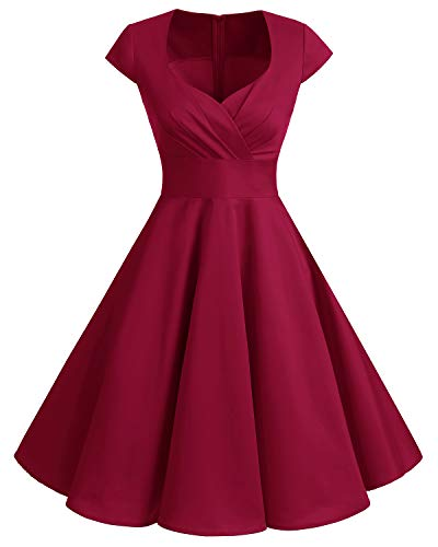 Bbonlinedress 1950er Vintage Retro Cocktailkleid Rockabilly Elegant Kleid V-Ausschnitt Faltenrock Dark Red M