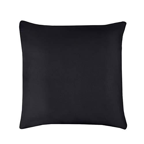 Sleepdown Super Soft Plain Dye Pillowcase Pair Pack Thermal Warm Cosy Pillow Cover - 80cm x 80cm - Black