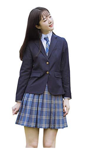 Yunbei Womens High School Girl Sailor Uniform JK Uniform Lattice Dress Japanese Blazer Skirt (XS, A)