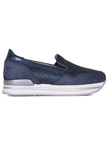 Hogan Luxury Fashion Damen HXW2220T671G4D0X05 Blau Glitzer Slip On Sneakers | Jahreszeit Outlet