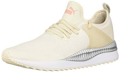 PUMA Women's Pacer Next Cage Sneaker, Pastel Parchment-Bridal Rose White Silver, 9 M US