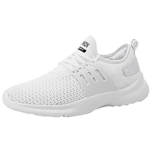 Cebbay Chaussures De Sport Hommes Casual Athlétique Chaussures De Course Respirant Appartements Chaussures De Couleur Unie Sneaker Léger Jogger Loisir Baskets Basses(Blanc,45 EU)