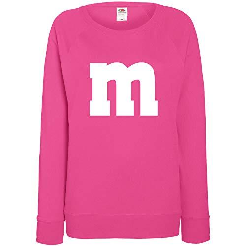 Shirt-Panda Damen Sweatshirt M&M Karneval Gruppen Kostüm Fasching Verkleidung Party Darts JGA Frauen Pink M
