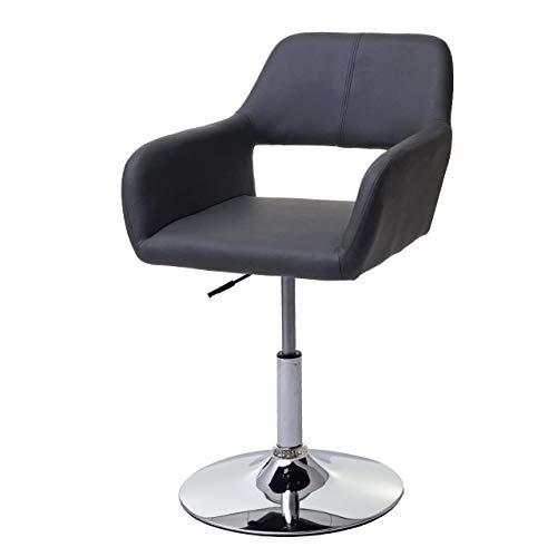 Mendler Esszimmerstuhl HWC-A50 III, Stuhl Küchenstuhl, Retro 50er Jahre, Kunstleder - grau, Chromfuß