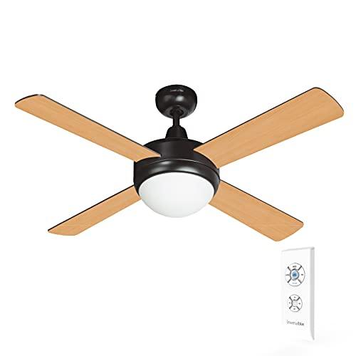 UNIVERSALBLUE | Ventilador de techo de madera | Mando a distancia | Luz | Aspas reversibles | 60 W | 106 cm | Temporizador