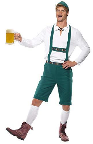 SMIFFYS Costume da Oktoberfest, verde, pantaloncini di pelle con bretelle, top e cappell