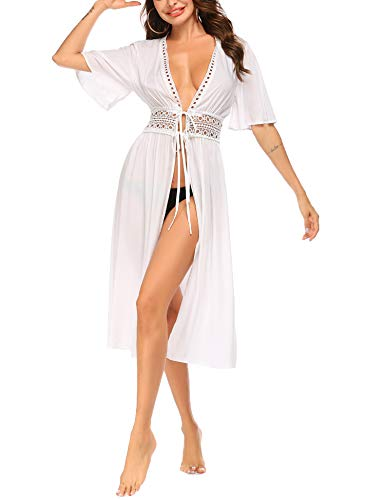 Ekouaer Summer Womens Kimono Cardigans Lightweight Lace Croche Hollow Long Beach Cover ups White M