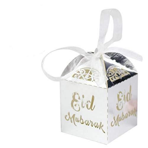 50 Stück Mubarak Candy Box Papierboxen Islamische Ramadan-Dekorationen, Muslimische Partyartikel Für Ihr Gartenthema, Klassische Themenparty, Hochzeit, Geburtstagsgeschenk, Jubiläum,dekoration