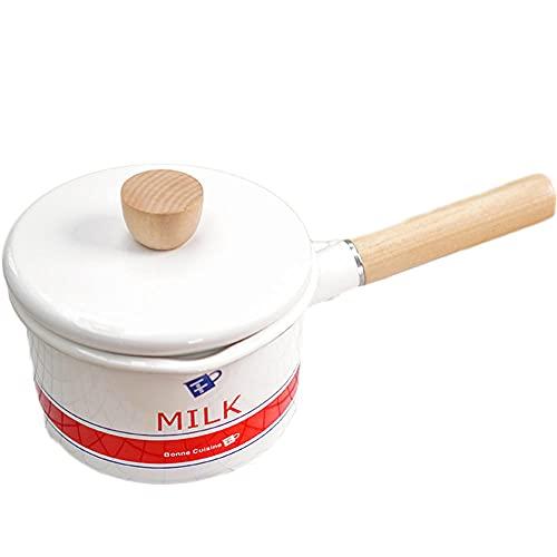 Olla Porcelana,Cacerola esmaltada antiadherente para leche, té, café, huevo, mango de madera, gran capacidad con tapa
