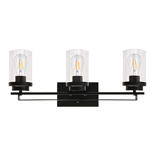 Banato Lighting Bathroom Vanity Light Fixtures, 3-Light Industrial Indoor Wall Light Matte Black Finish with Clear Glass Shade, Farmhouse Sconces Wall Lighting for Mirror Cabinet Powder Room
