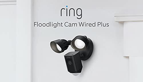 Nuevo Ring Floodlight Cam Wired Plus de Amazon | Vídeo 1080p HD, focos LED, sirena integrada, instalación por cable | Prueba de 30 días gratis de Ring Protect | Negro