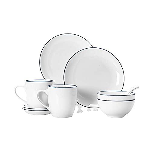 DGHJK Vajilla de 10 Piezas Porcelana Blanca y Borde Azul Oscuro Resistente al Calor con 2 Tazones 2 Platos 2 Tazas y 2 Platillos Servicio para 2 Personas