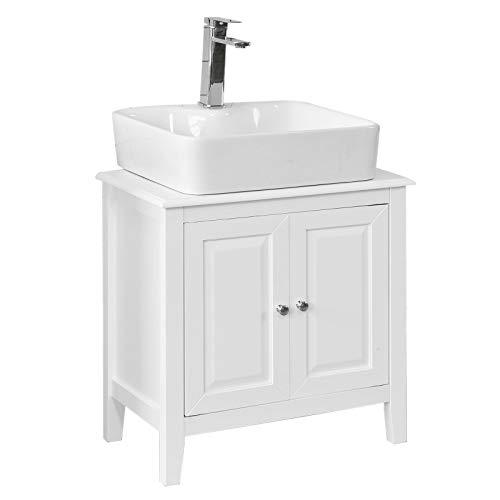 SoBuy® FRG202-W Meuble sous-Lavabo Dessous de lavabo ou Evier Meuble de Salle de Bain Vasque à 2 étages et 2 Portes -Blanc