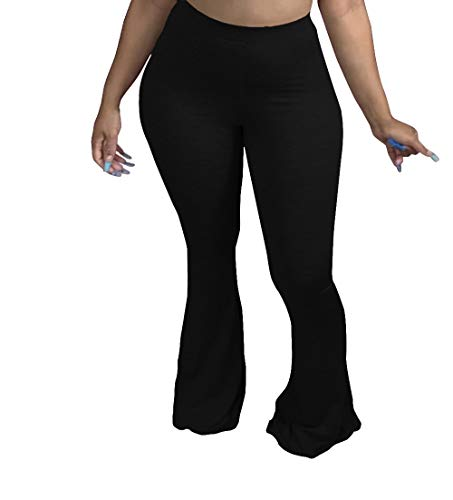 PINSV Women's Comfy Casual Long Pants Stretchy Flare Lounge Pants High Waisted Bell Bottoms Trousers Black XL