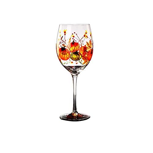 WSYGHP Cristal de Vino de Vino Cóctel de Cristal Estilo Vino Pintado a Mano Vino-Moderno Vino Largo Vino de Vino con Tallo, Adecuado para Bodas, Navidad, cata de vinos Partie a17 Vasos de Whis