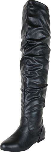 Cambridge Select Women's Closed Toe Slouch Flat Over The Knee Boot,6.5 B(M) US,Black PU