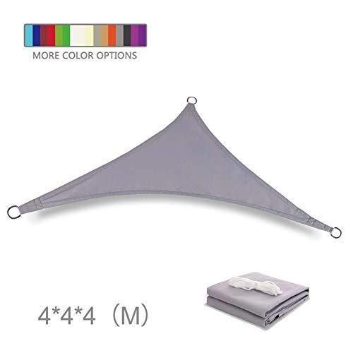 DZYP Solar Sail Schirme, Shade UV-Schutz Segel für Gärten Schwimmbäder im freien Wasserdichten Polyester Sonnensegel Sonne Dreieck Sonnensegel (4X4X4m,Silver Gray)