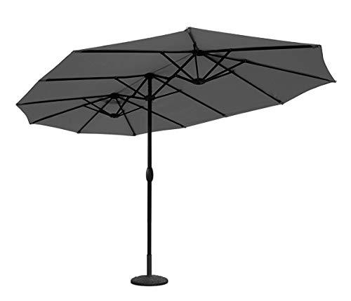 Sekey® 270 × 460 cm Aluminium Doppelsonnenschirm Marktschirm Gartenschirm Terrassenschirm Sonnenschutz UV50+ Grau