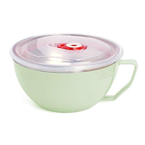 Gwxevce Edelstahl Nudelschale mit Griff Lebensmittelbehälter Reisschüssel Suppentassen Grün