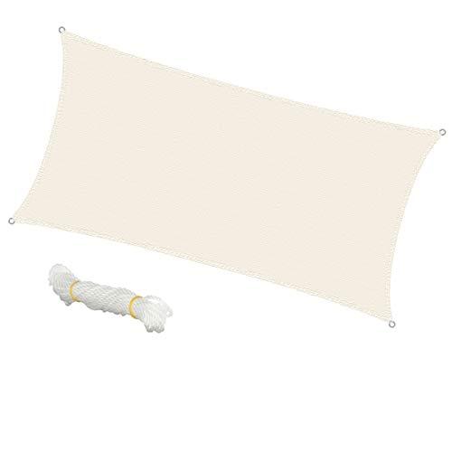 ECD Germany Tenda a Vela Ombra Tenda Parasole a Vela Rettangolare 2x4 m - Crema -100% HDPE - con Protezione UV - Inclusi Corde di Fissaggio - Telo da Sole Resistente alle Intemperie Traspirante