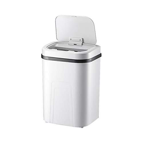 LICHUAN Inteligente de la Basura de la inducción de la casa Pueden Sellado con Tapa automática 15L Grande de Carga Botón de Retroceso de plástico Papelera (Color : White)
