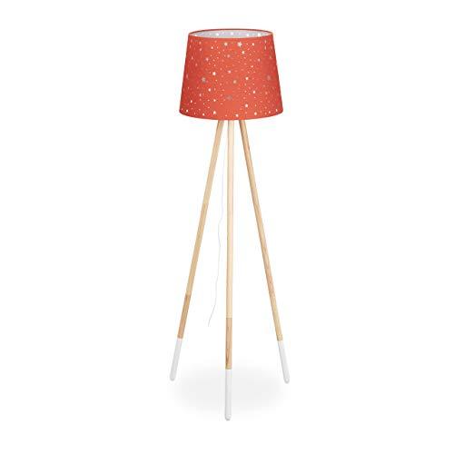 Relaxdays Lámpara de pie para habitación Infantil, E27, con Cable, Pantalla con diseño de Estrella, trípode y Tela, Madera, 147 cm de Alto, Color Rojo