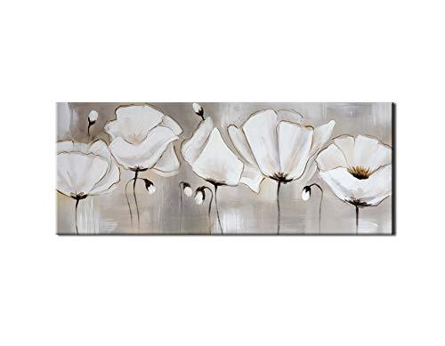 Cabecero cuadro flores blancas con relieve