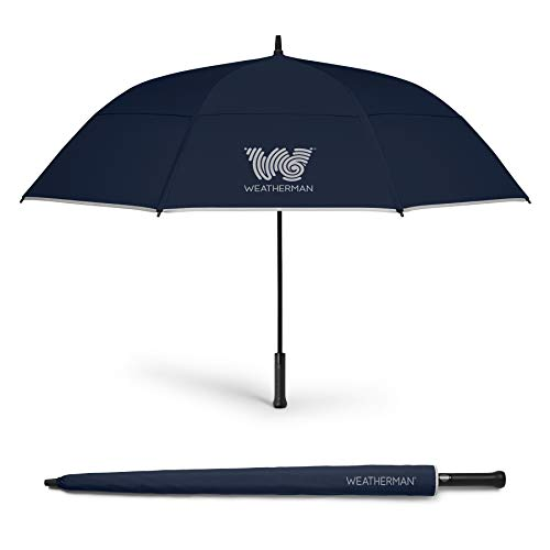 The Weatherman Umbrella - Golf Umbrella - Windproof Sports Umbrella Resists Up to 55 MPH - Available in 2 Sizes and 5 Colors (68 inch, Navy Blue)
