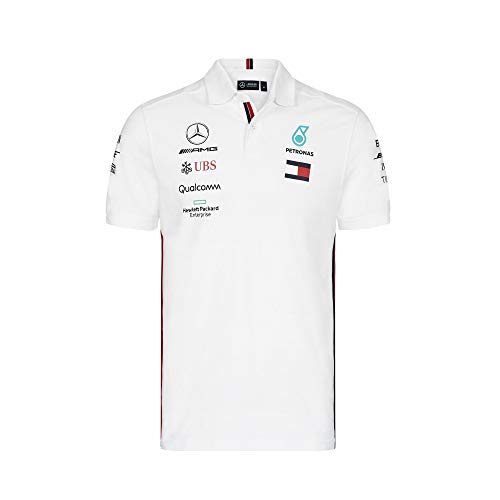 Official Formula One Merchandise | Offizielle Mercedes-AMG Petronas Motorsport 2019 F1™ | Team Polo Shirt | Farbe: Weiß | Größe: XXL