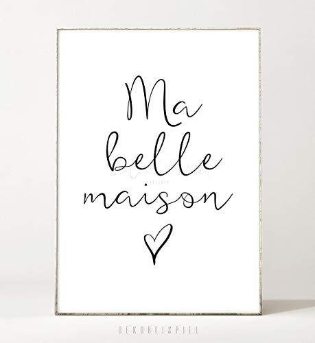 DIN A4 Kunstdruck Poster MA BELLE MAISON -ungerahmt- Typografie, Schrift, Schreibschrift, Herz,...