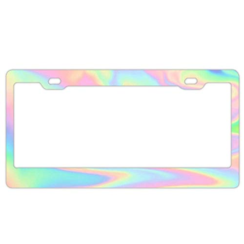 Hopes's Auto Decorative Frames Black Aluminum Metal License Plate Frame for Women/Men, Custom Holographic Car License Plate Cover Holder for US Vehicles - Colorful Holographic
