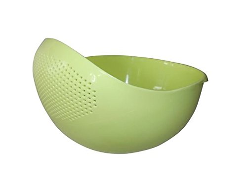 Japanese Design 2.1Qt (2L) Design Rice Washer Strainer Colanders for Cleaning Vegetable, Fruit, Pasta (Small, Green)