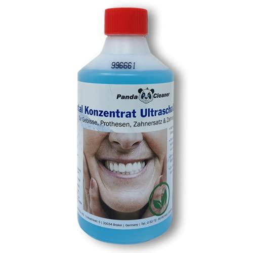 Dental Konzentrat Ultraschallreiniger - Entfernung von Belägen und Verfärbungen - für Gebisse, Prothesen, Zahnersatz & Zahnspangen 500ml